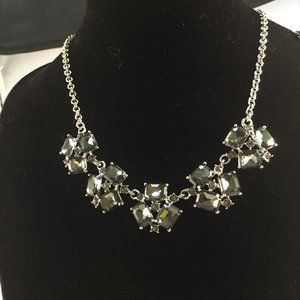 "Jewelry - 20"" Square Faceted Black Crystal Silver Necklace"